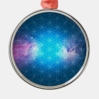 Kosmische Blume des Lebens Rundes Silberfarbenes Ornament