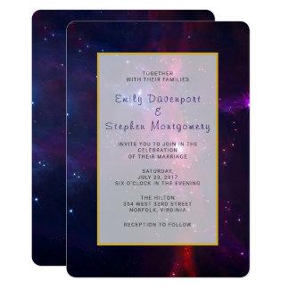 Kosmische Raum-Stern-und Nebelfleck-Hochzeit laden Karte