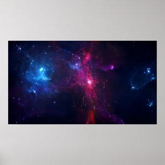 Kosmische Raum-Sterne und Nebelfleck Poster