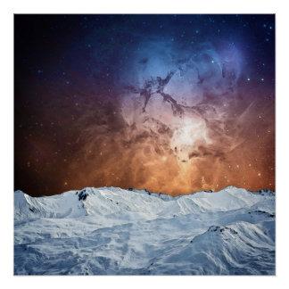 Kosmische Winter-Landschaft Poster
