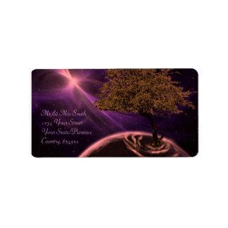 Kosmischer Baum des Lebens Adressaufkleber