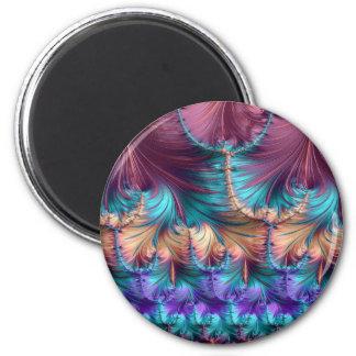 Kosmischer Brunnen des Kindheits-Fraktals abstrakt Runder Magnet 5,7 Cm