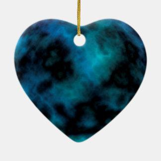Kosmischer Imitat-Blau-Marmor Keramik Herz-Ornament