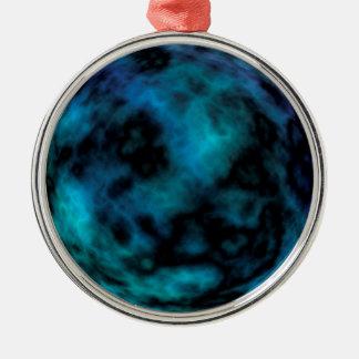 Kosmischer Imitat-Blau-Marmor Rundes Silberfarbenes Ornament