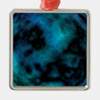 Kosmischer Imitat-Blau-Marmor Silbernes Ornament