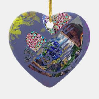 Kosmischer lila Fötus-Spaß Keramik Ornament
