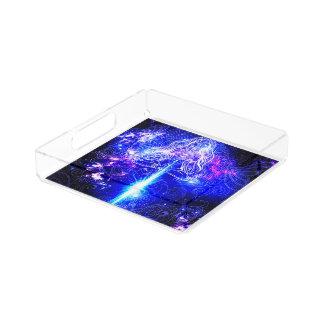 Kosmisches schillerndes Koi Acryl Tablett