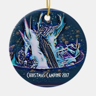 Kosmisches Weihnachtslagerfeuer 2017 Keramik Ornament