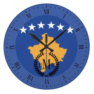 Kosovo-Flagge Große Wanduhr