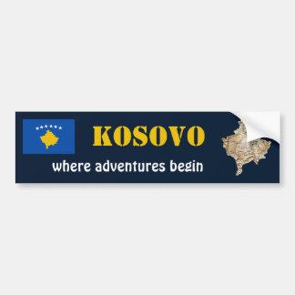 Kosovo-Flagge + Karten-Autoaufkleber Autoaufkleber