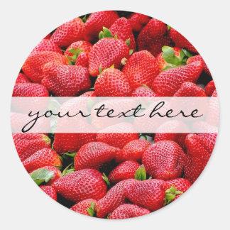 köstliche dunkle rosa Erdbeerphotographie Runder Aufkleber