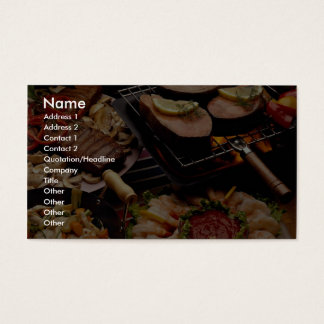 Köstliche gegrillte Lachse, Rindfleischsteaks und Visitenkarten