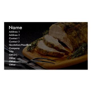 Köstliche geschnittene Schweinebraten Visitenkarten