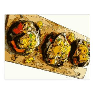 Köstliche Kartoffel angefüllt mit gegrillten Postkarte