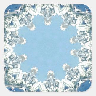 köstliche Kreisschatten des Blaus Quadratischer Aufkleber
