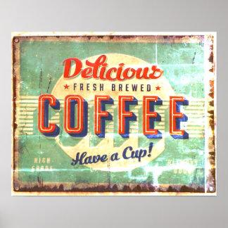 Köstliche neue gebraute Kaffee-Antiken-Replik Poster