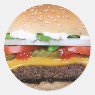 köstlicher Cheeseburger mit Runder Aufkleber