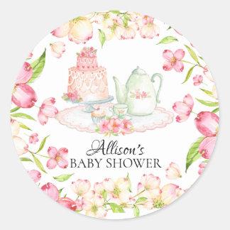 Köstlicher rosa Blumenbaby-Tee-Party-Aufkleber Runder Aufkleber