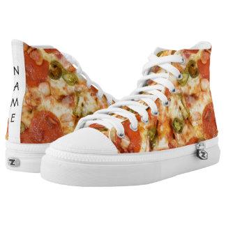 köstliches ganzes Pizzapepperonis Jalapeno-Foto Hoch-geschnittene Sneaker