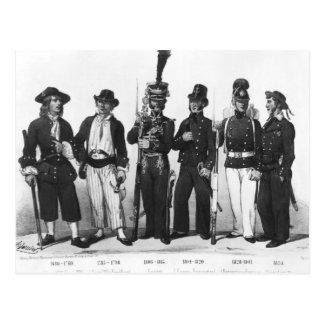 Kostüme der französischen Marinesoldaten von 1680 Postkarte