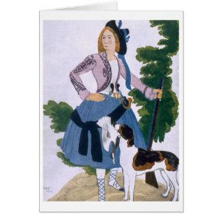 Kostümieren Sie Entwurf für den Huntress, 1922 (Fa Grußkarte
