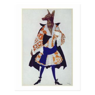 Kostümieren Sie Entwurf für den Wolf, von der Postkarte