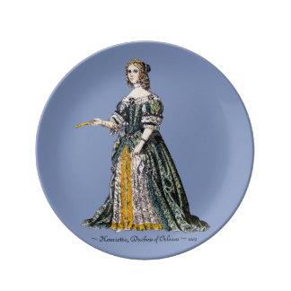 ~ KOSTÜMIERT ~ Henrietta, Herzogin von Orleans ~ Porzellanteller