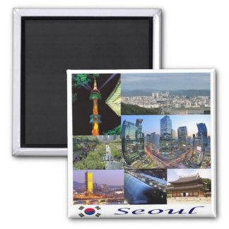 Kr - Südkorea - Seoul - Mosaik - Collage Quadratischer Magnet