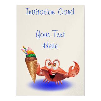 Krabben-Cartoon mit Eiscreme-Einladungskarte 16,5 X 22,2 Cm Einladungskarte