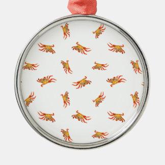 Krabben-Foto-Collagen-Muster-Entwurf Rundes Silberfarbenes Ornament