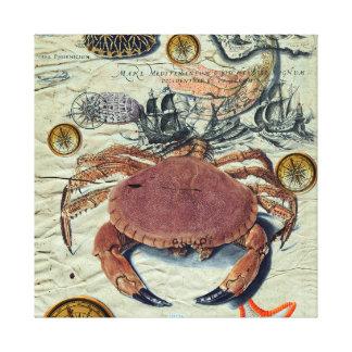 Krabben-Karte Leinwanddruck