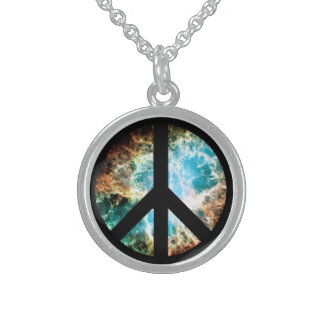 Krabben-Nebelfleck-Friedenszeichen Sterling Silberkette