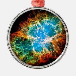Krabben-Nebelfleck-Supernova-Rest Hubble Raum-Foto Silbernes Ornament