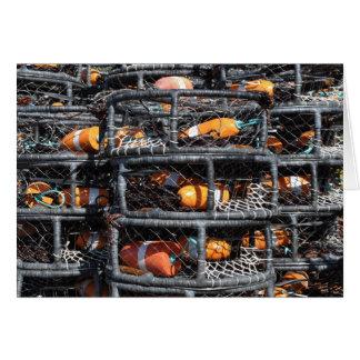 Krabben-Töpfe gestapelt für die Fischerei Karte
