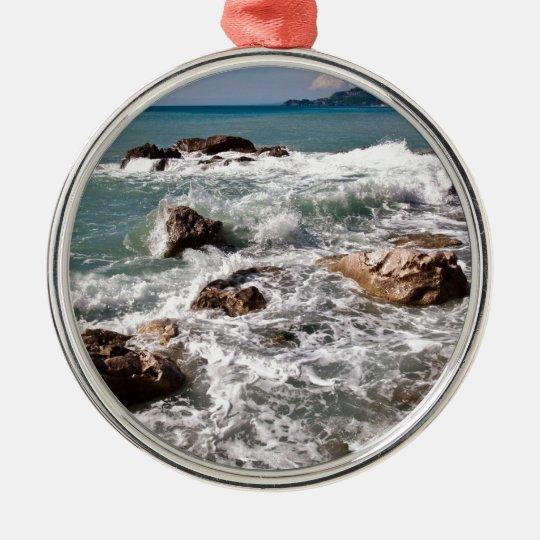 Kraft des Meeres - Insel Sizilien Rundes Silberfarbenes Ornament