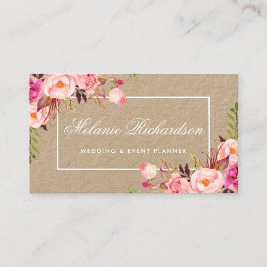 Kraftpapier Aquarell Rosa Mit Blumen Visitenkarte Zazzle De