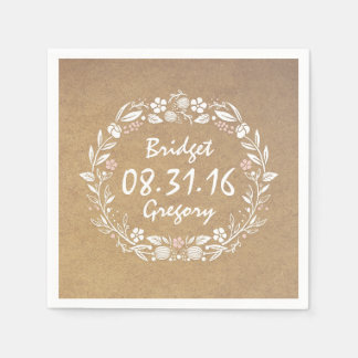Kraftpapier-Art Vintage Hochzeit Blumenwreath Papierserviette