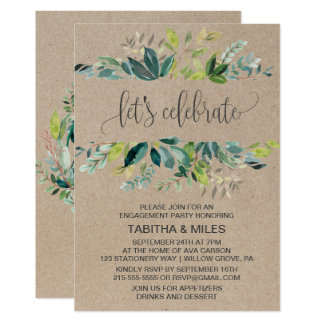 Kraftpapier-Laub ließ uns Verlobungs-Party feiern Karte