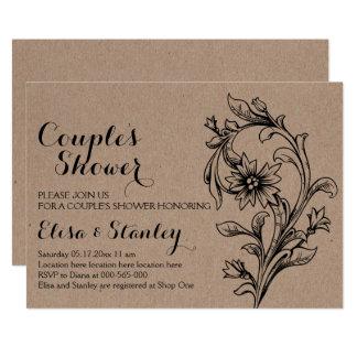 Kraftpapier-Pappblumenhochzeits-Paardusche 12,7 X 17,8 Cm Einladungskarte