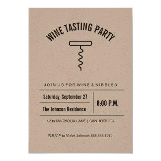 Kraftpapier-Sammlungs-Weinprobe-Einladung Karte