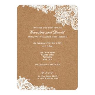 Kraftpapier-Spitze-Hochzeits-Einladung Karte