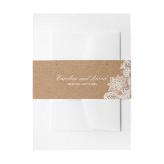Kraftpapier-Spitze-Hochzeits-Krawatte Einladungsbanderole