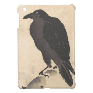 Krähe Kawanabe Kyosai, die auf hölzerner iPad Mini Hülle