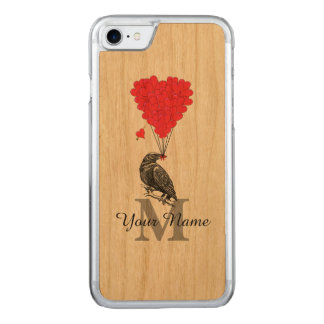Krähe und rotes Herzmonogramm Carved iPhone 8/7 Hülle