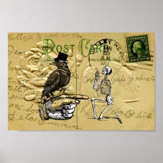 Krähe und Skelett Poster