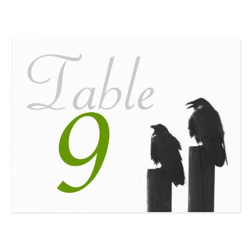 Krähen der Tischnummer-Karte zwei Postkarte