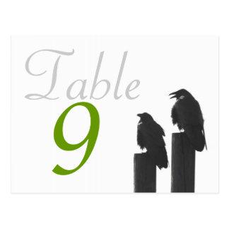 Krähen der Tischnummer-Karte zwei Postkarten