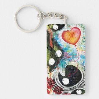 Krähen Keychain - folgen Sie Ihrem Herzen Beidseitiger Rechteckiger Acryl Schlüsselanhänger