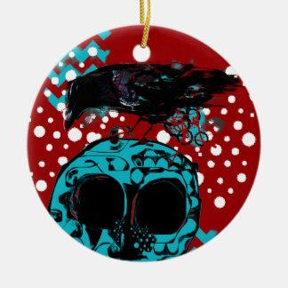 Krähen-und Schädel-Abfall-Polka-Tauchen-Funky Keramik Ornament