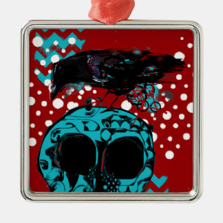 Krähen-und Schädel-Abfall-Polka-Tauchen-Funky Silbernes Ornament